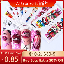 1 conjunto de decalques do prego transferência de água adesivos sexy lábios língua maquiagem meninas sliders decoração manicure envolve tatuagem BESTZ756 765 1