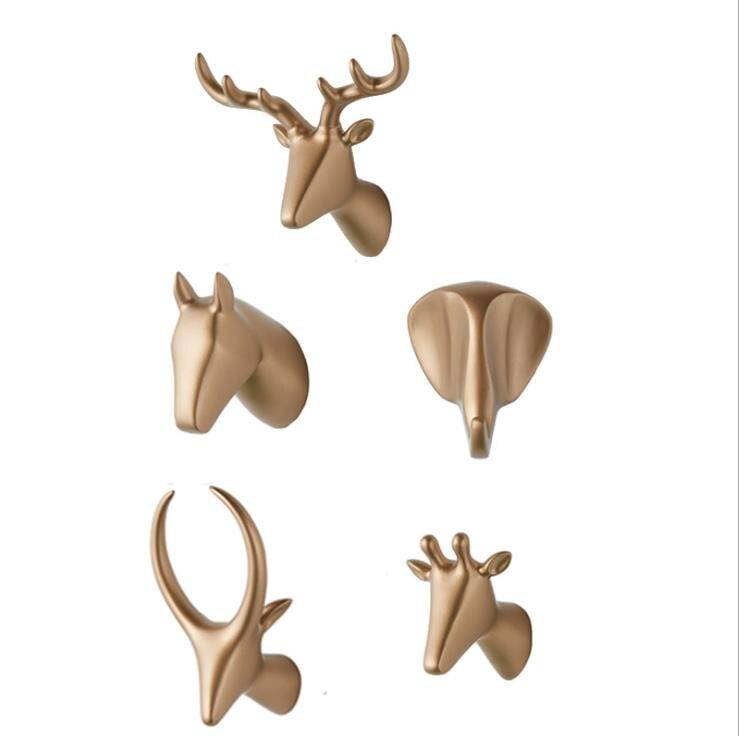 LCH Modern European Style Creative Resin Animal Art Handmade Cloth Hook Keys Holder Door Knob Pull Clothes Hook