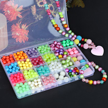 550pcs/Box Children DIY Colorful Acrylic Beads Kit With 24 Girds Kids Handmade Necklaces Bracelet Jewelry Beads Educational Toys