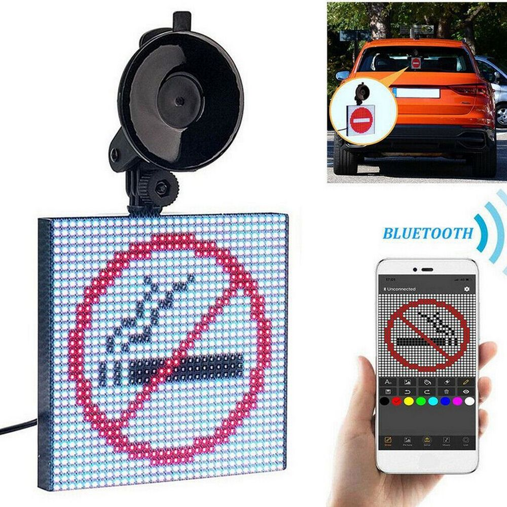 Full Color Car Rear Window Display LED Pattern Text Emoticons Funny DIY Bluetooth For Android IOS Hanging Sucker