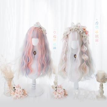 Peluca de Hada de moda para fiesta Cosplay del pelo ondulado Pelo Largo Lolita para chicas Harajuku princesa mujeres chica Daliy vida calor resistente peluca