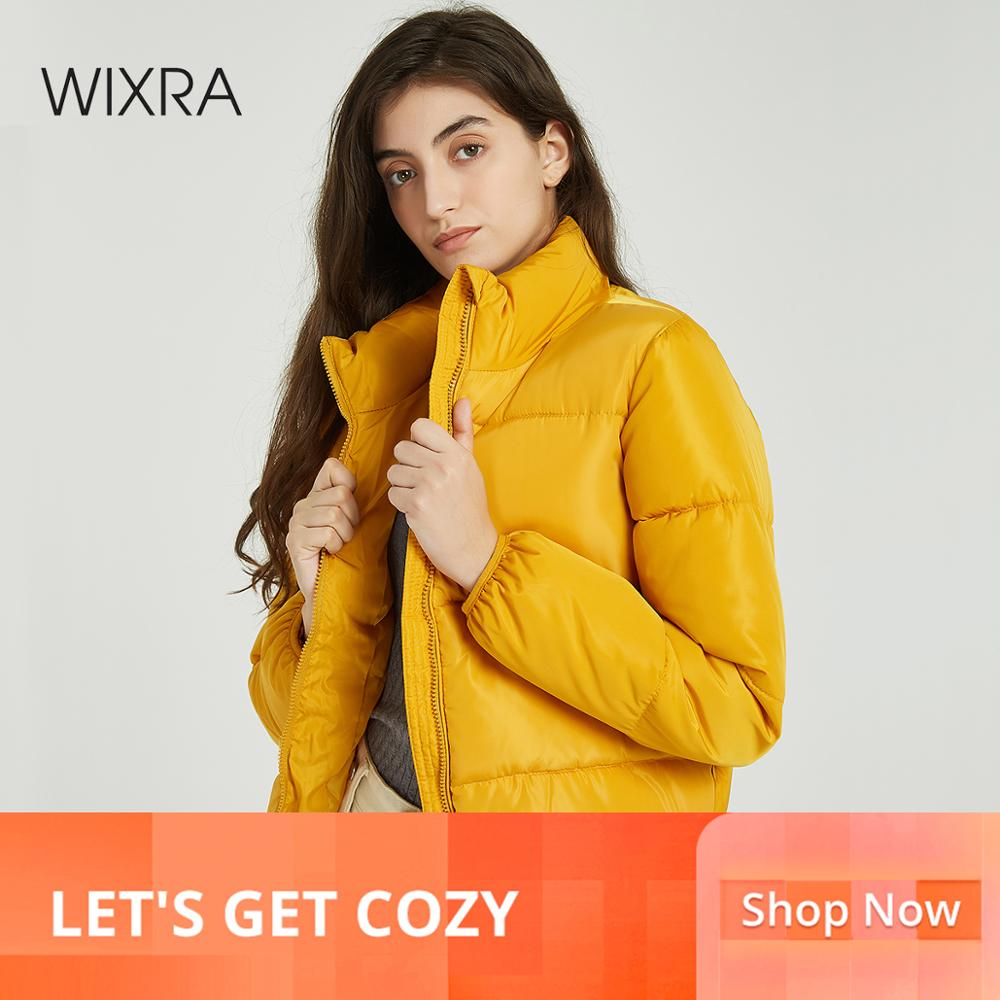 Wixra Women Jacket 2019 Fashion Stand Collar Short   Parka   Jacket Solid Warm Jackets and Coats Winter Ladies Casual   Parkas