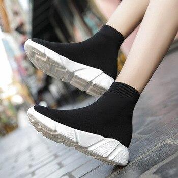 Кроссовки-носки унисекс, высокие дышащие, из эластичной ткани, без шнуровки, плоская подошва, модная повседневная Дамская обувь