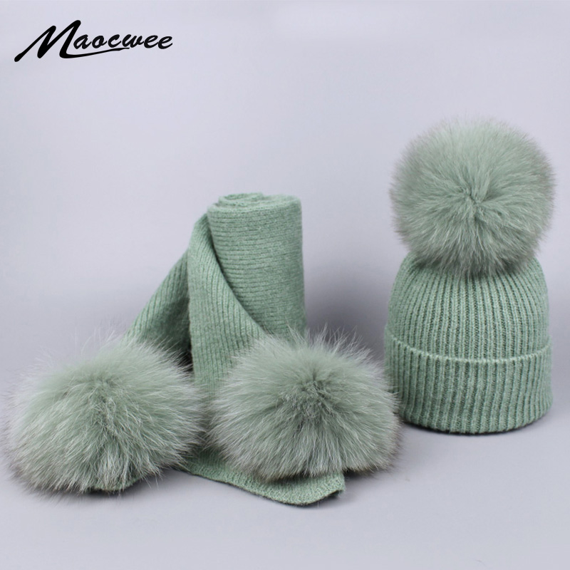 Real Fox Fur Pom Pom Hat Scarf Set Winter Children Female Warm Wool Crochet Beanie Pompons Soft Solid Elasticity Knitted Beanie