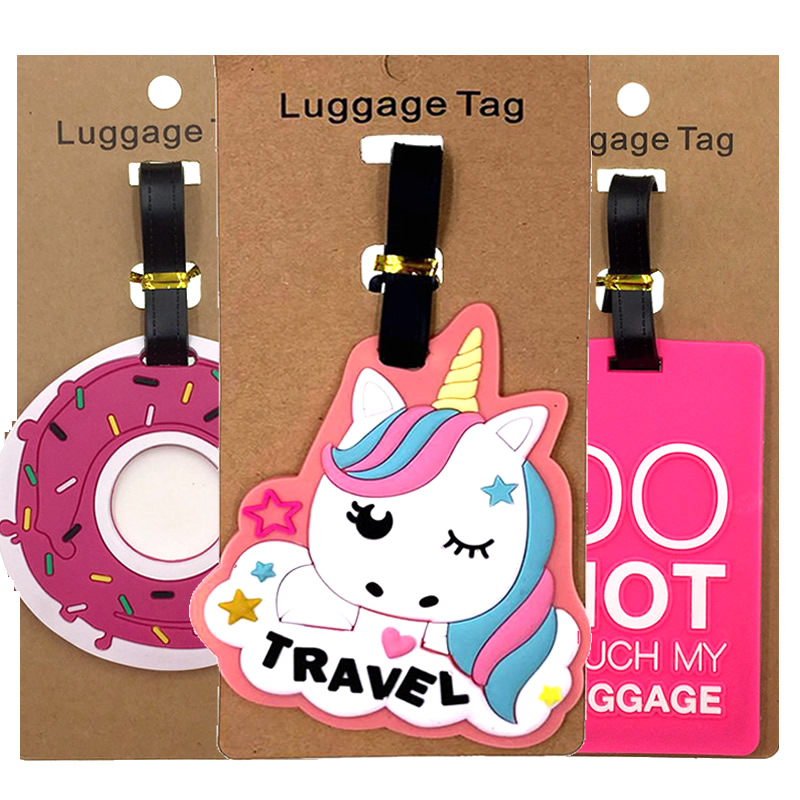Cartoon Letter Unicorn Luggage Tags Suitcase ID Addres Holder Silica Gel Baggage Boarding Girl Portable Label Travel Accessories