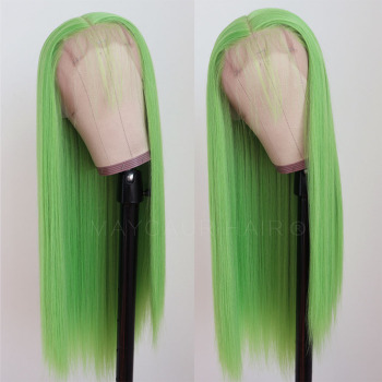 Maycaur Lime Green Pink ace Front Wigs Long Straight Hair 20 Inch for Black Women Synthetic Lace - discount item  36% OFF Synthetic Hair