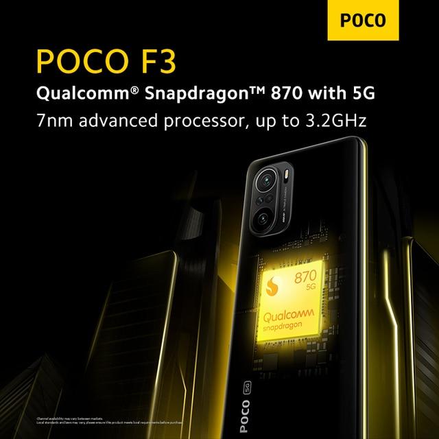 "Versão global poco f3 5g smartphone snapdragon 870 octa núcleo 128gb/256gb rom 6.67 ""120hz e4 amoled tela 4520mah bateria nfc 5"