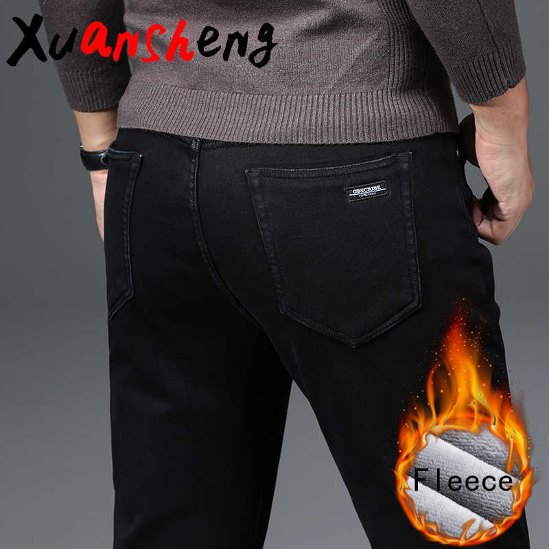 Xuansheng fleece straight men's jeans 2019 winter classic casual warm elastic brand pants trousers streetwear pure black jeans