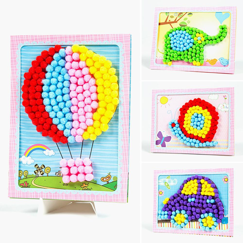 Kuulee Creative DIY Baby Kids Plush Ball Painting Stickers Children Educational Handmade Material Cartoon Puzzles Crafts Toys