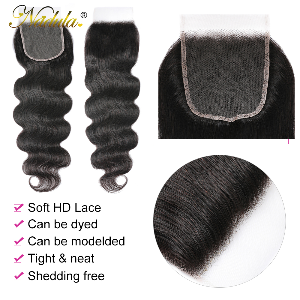 Nadula Hair 5x5 HD Lace Closure With Bundles  Body Wave Bundles With Closure  Transparent Frontal and Bundles 4