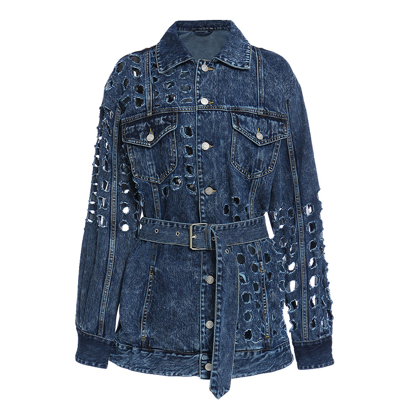[EAM] Loose Fit Blue Hollow Out Big Size Denim Jacket New Lapel Long Sleeve Women Coat Fashion Tide Spring Autumn 2020 1Y720 7