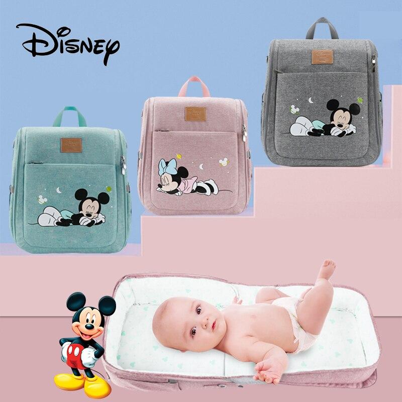 Disney Multifunctional Dual Purpose Diaper Bags Foldable Bed Bags Baby Travel Insulation Bag Waterproof Baby Diaper Bag Backpack