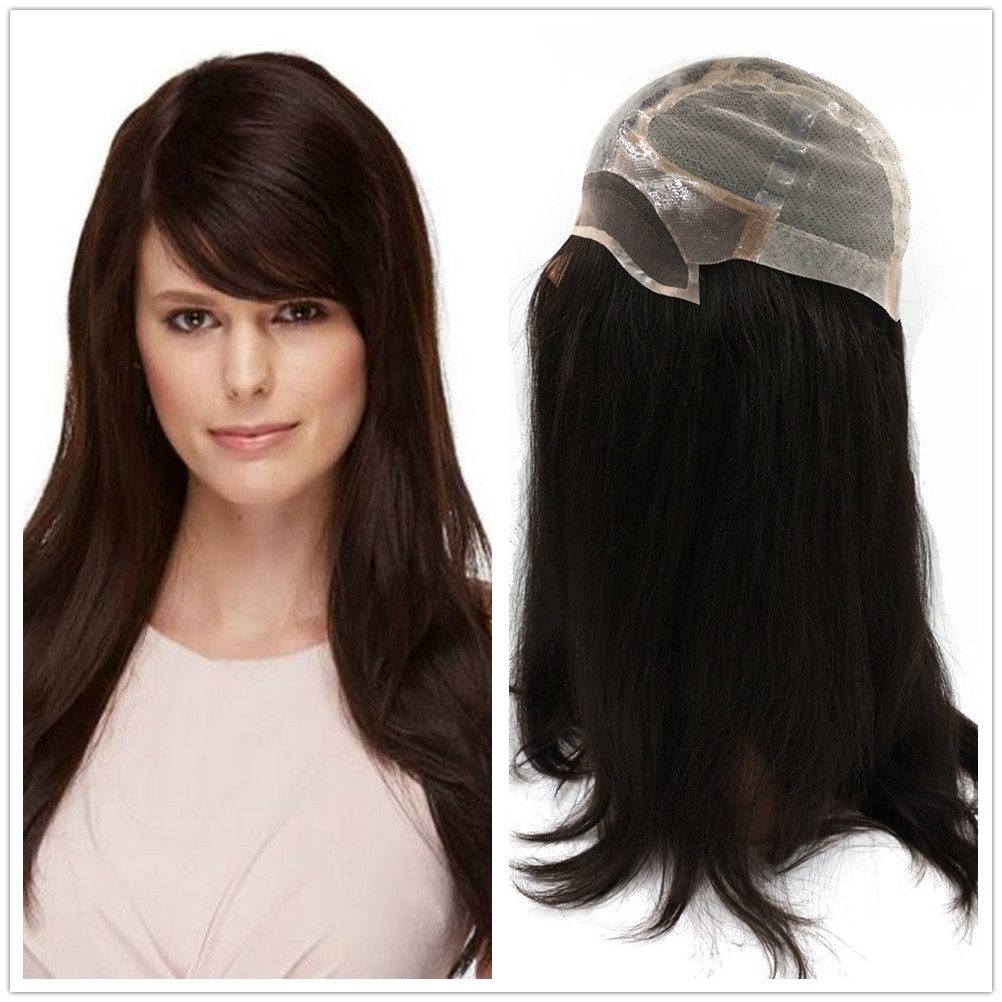 Hstonir European Wig Remy Hair Sheitel Average Size Classic Poly Skin Top Soft Silicon With Stretch Net G038