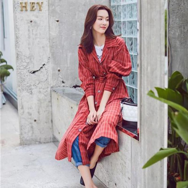 Women Vintage Streetwear Long Windbreaker 2019 New Spring Autumn Slim With Belt Single Breasted Korean Red   Trench   Coat Overcoat