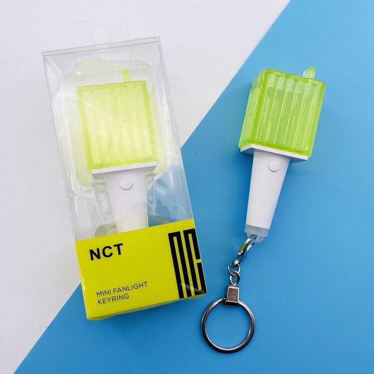 Kpop NCT Mini Light Stick KeyChain Lamp Pendant Hanging Fluorescent Stick Green Hammer Key Chain Official Peripheral K-pop NCT