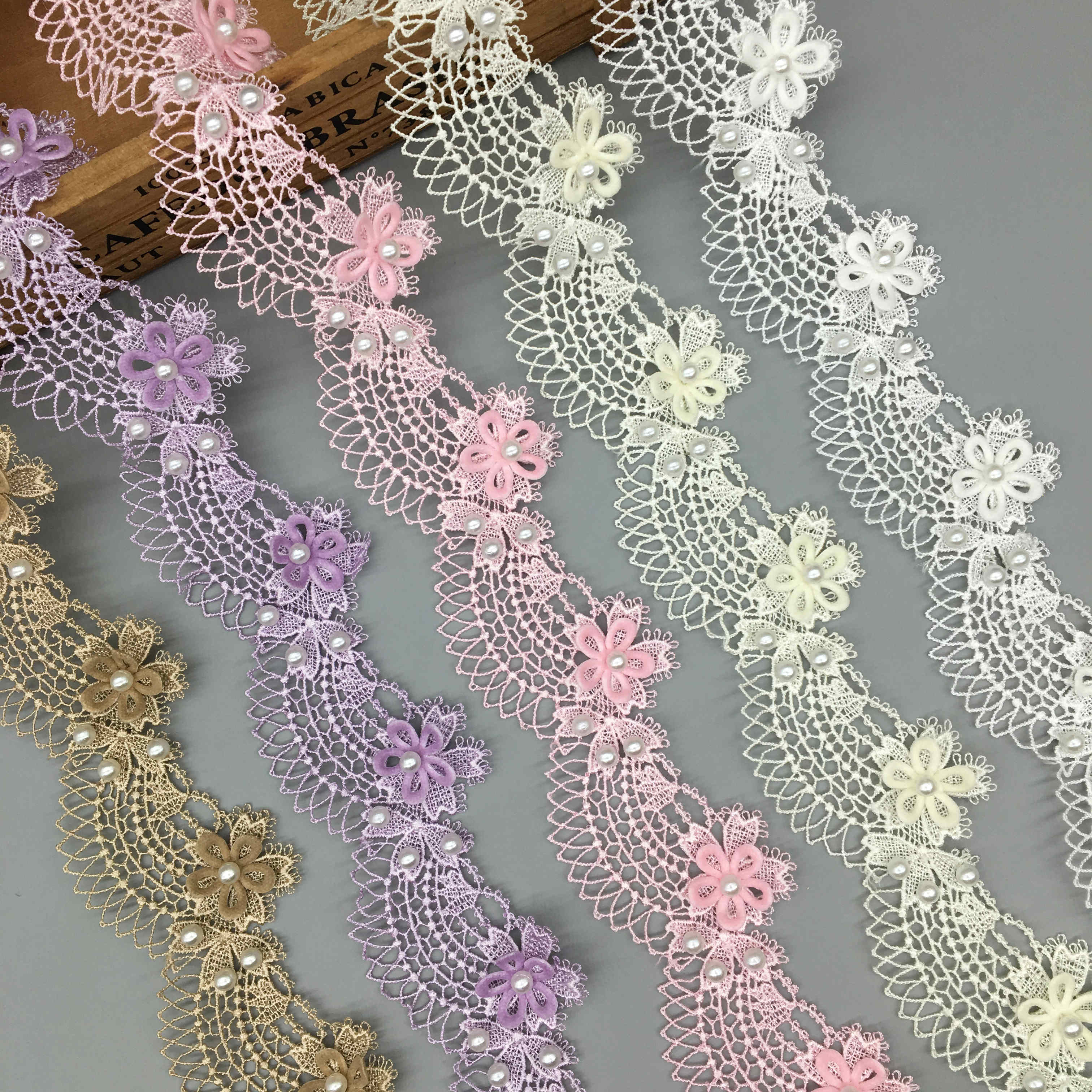 1 Yard Soluble Rose Flower Pearl Ocean Waves Embroidered Lace Trim Ribbon Fabric Sewing Craft Patchwork Handmade Decoration