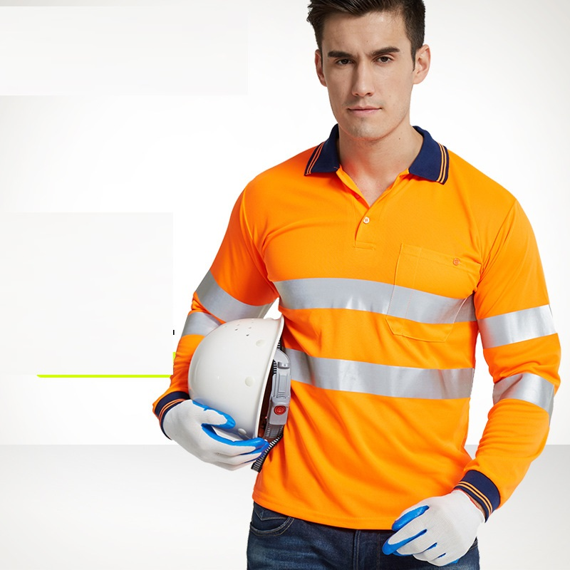 Orange Hi Viz Safety Reflective T-shirt Turn Down Collar Quick-drying Breathable Free Shipping Traffic Highway Road Worker Tees