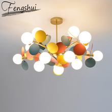 trazos nordic colour Modern Creative Cartoon Led Chandeliers Ceiling Living Room Hanglamp for Kids Room Ball Colour Nordic Lighting Kitchen Luminaire