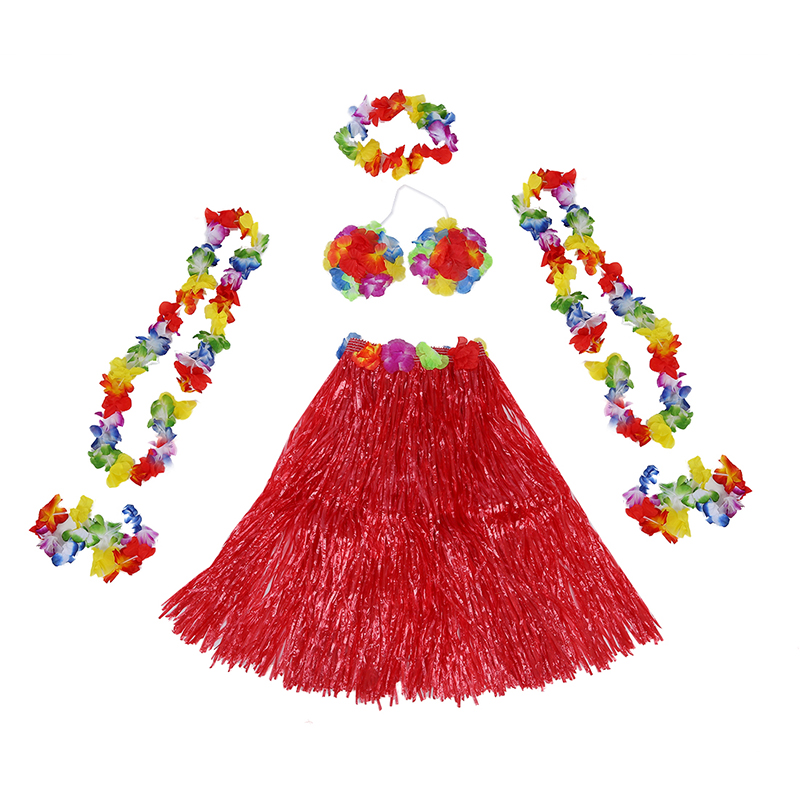 6 Set Hawaiian Grass Skirt flower Hula Lei Wristband Garland fancy Dress costume