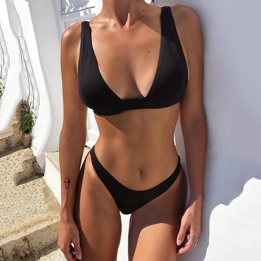 New Sexy Bikini 2021 Solid Swimsuit Women Swimwear Push Up Bikini Set Brazilian Bathing Suit Summer Beach Wear Swimming Suit XL 2