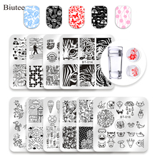 10 Pcs Square Nail Stamping Plates Set Halloween Flower Animal Pattern 6*6 cm Art Stamp Template Image Stencils Tool Kits