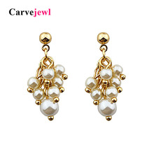 Carvejewl Korea design high quality simulated pearl cluster Earrings Female drop Dangle For Women Girl Trendy Jewelry