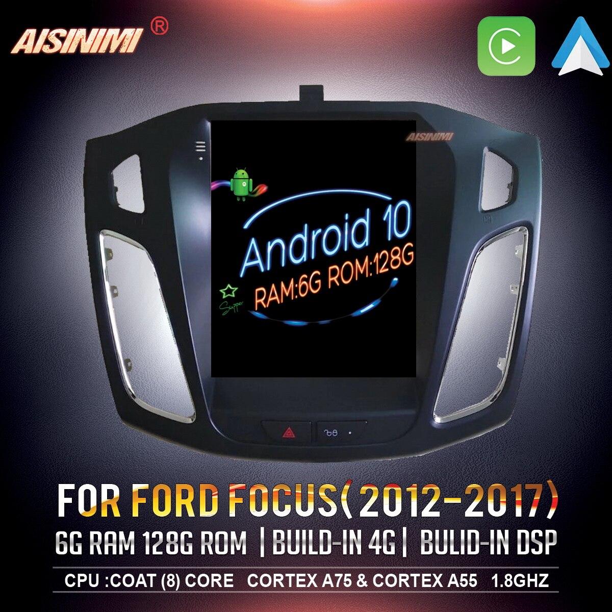 AISINIMI Android 10 автомобильный Dvd-проигрыватель для FORD FOCUS 2012-2017 автомобильная аудиосистема Для Tesla Style gps мультимедийный стерео монитор