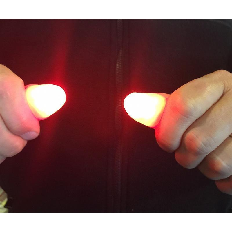 1 Pair Creative Magic Red Light Up Thumb Tips With LED Red Magic Thumb Tip Light Illusion Soft Standard Size 2 Pcs Props Gift E