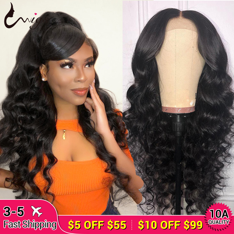 Uwigs 4x4 Lace Closure Wig Remy Human Hair Wigs Pre Plucked 8-26 Inch Brazilian Loose Deep Wig Bleached Knots
