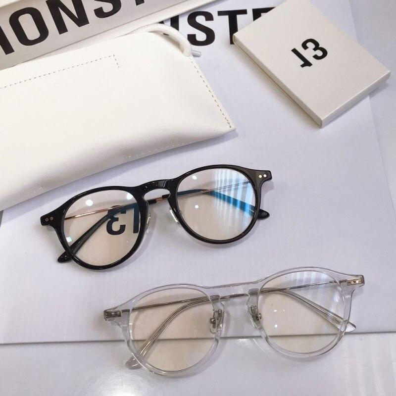 Корейская брендовая дизайнерская оправа для очков, женские и мужские круглые прозрачные очки для чтения с линзами по рецепту при близоруко...