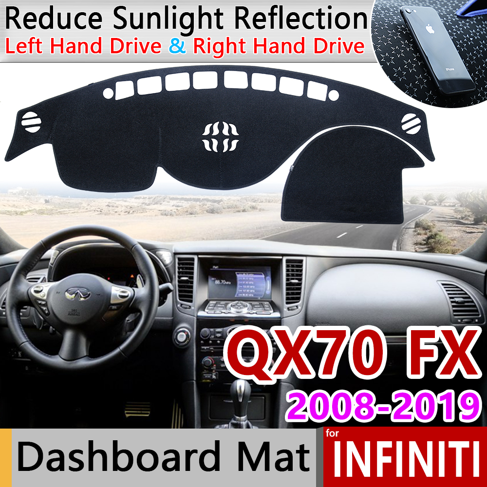 for <font><b>Infiniti</b></font> <font><b>QX70</b></font> <font><b>FX35</b></font> <font><b>FX37</b></font> FX45 FX50 2008~2019 S51 Anti-Slip Mat Dashboard Cover Pad Sunshade Dashmat Car Carpet Accessories image