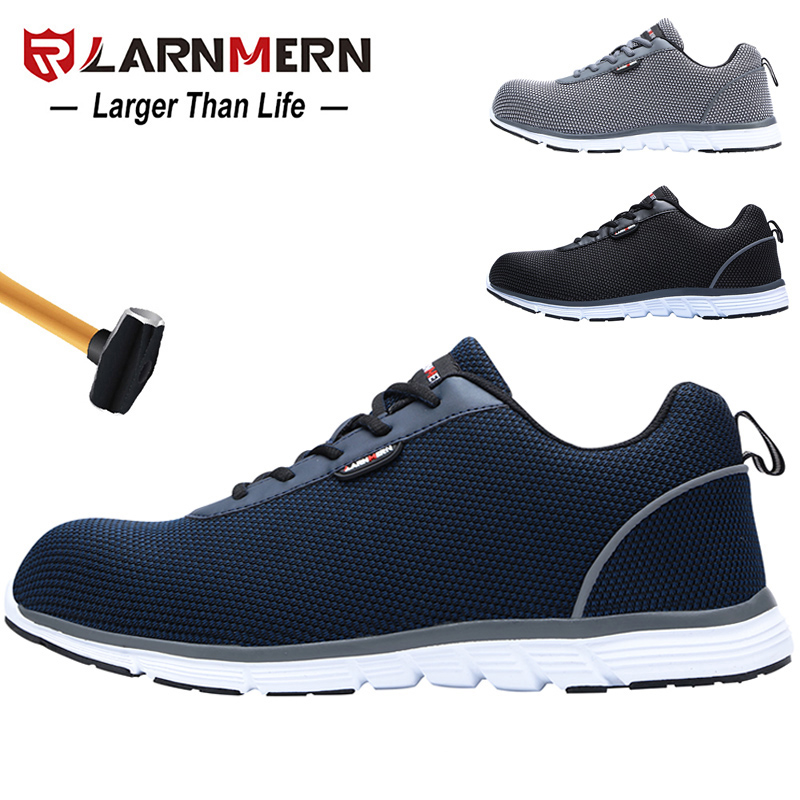 LARNMERN Mens Work Shoes Steel Toe Safety Shoes Lightweight Comfortable Anti-smashing SRC Non-slip Reflective Sneaker