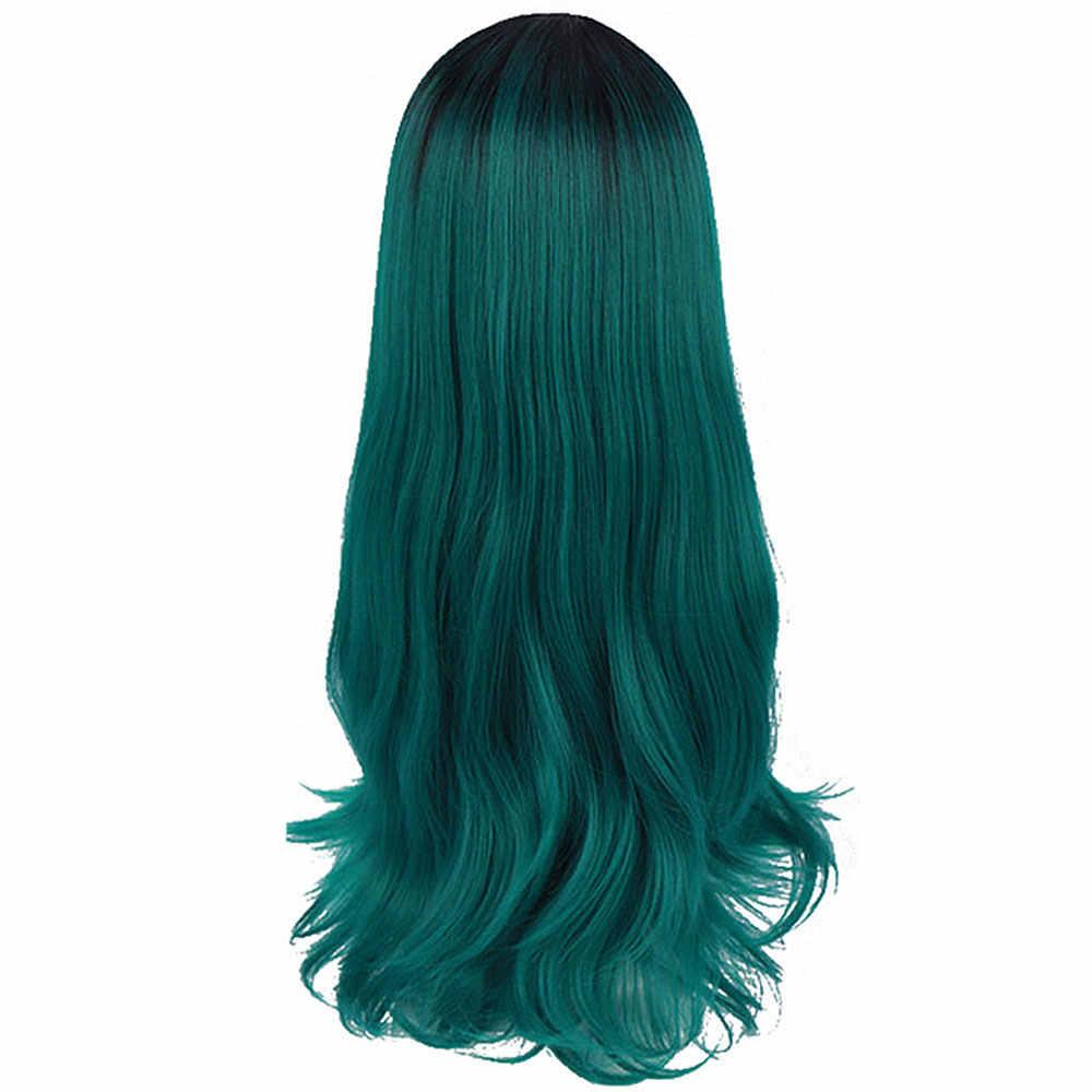 Afro uzun Ombre siyah yeşil Cosplay Lolita peruk hiçbir patlama yüksek sıcaklık Fiber sentetik pembe saç uzatma peruk kadınlar için