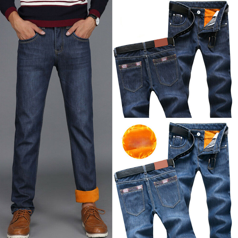 Men Winter Thermal Jeans Fleeced Lined Denim Long Pants Casual Warm Trousers for Office Travel XRQ88