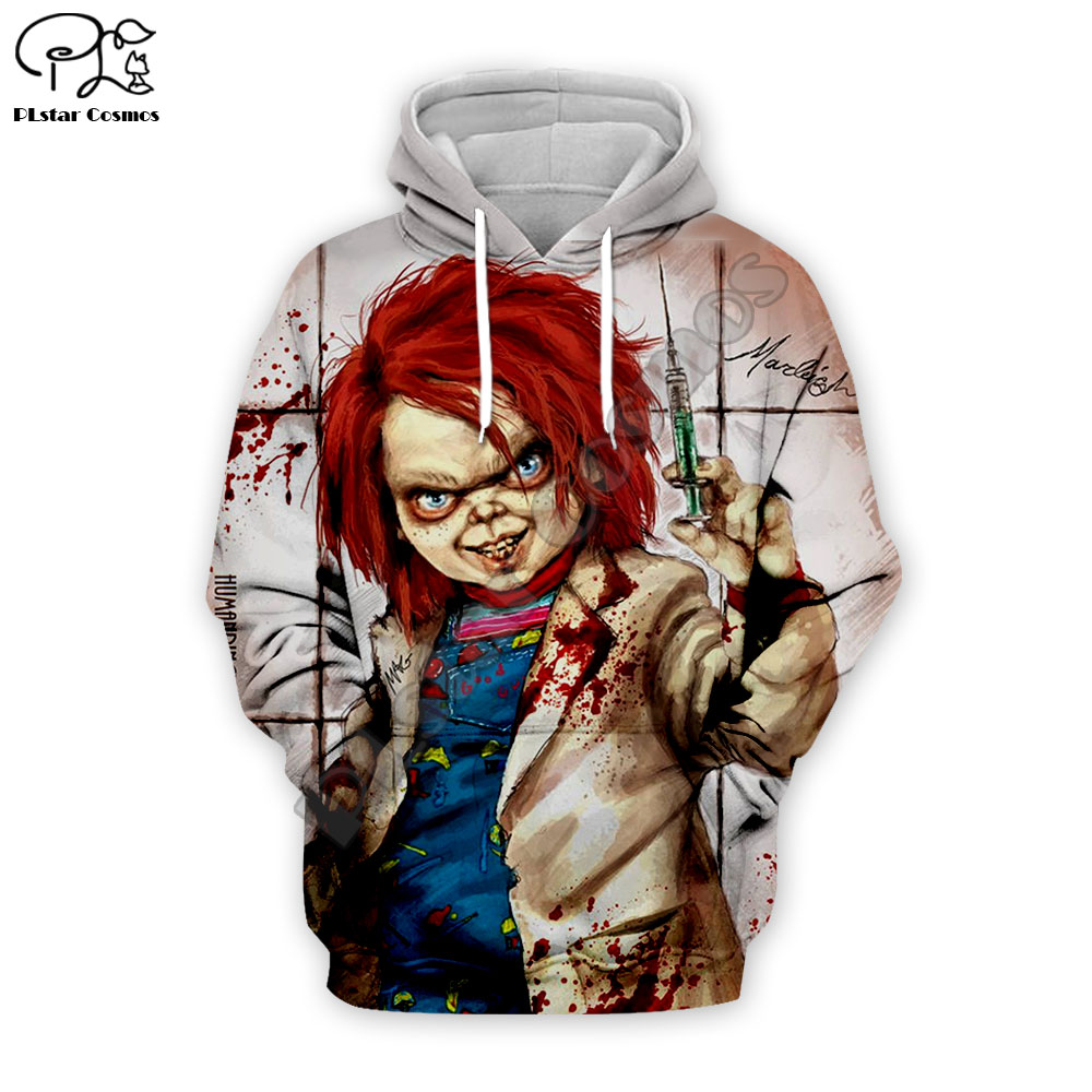 Men Halloween Terror Blood Child's Play Chucky 3d Print Hoodies Unisex Sweatshirts Casual Zipper Pullover Tracksuit T Shirts