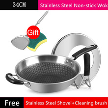 34cm Honeycomb Non-Stick Wok 304 Stainless Steel Spatula Pot Food Frying Pan Smokeless Wok Eco-Friendly Cooking Cookware free shipping fy 300 all with stainless steel beefsteak cooking tool teppanyaki machine food frying pan