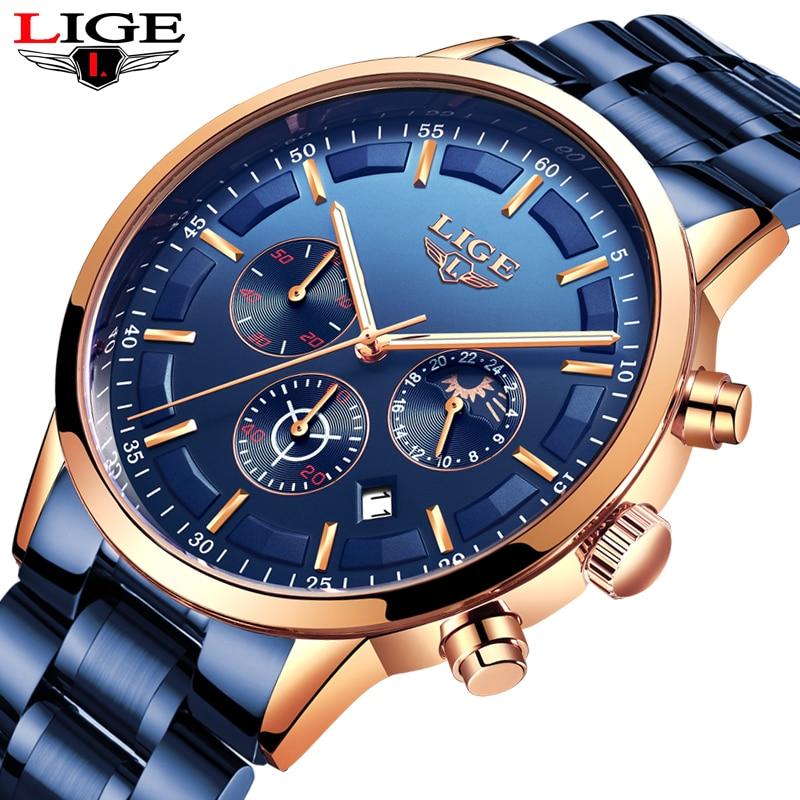 LIGE Modus-Business herren Uhr Top Marke Luxus Voller Stahl Wasserdicht Quarz Uhr Männer Datum Mond Phase Sport Chronograph + Box