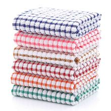 Luxury Tea Towel 3 Pack Set Terry Cotton Kitchen Dish Cloth Cleaning Check Towel