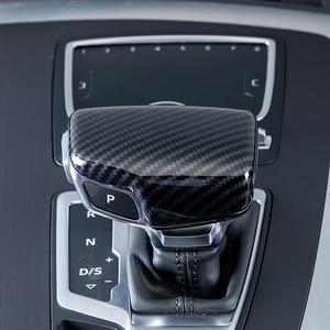 Image 3 - 자동차 스타일링 콘솔 기어 쉬프트 핸들 헤드 프레임 커버 아우디 A4 B8 B9 A5 A6 A7 Q7 Q5 용 탄소 섬유 스티커 인테리어 액세서리