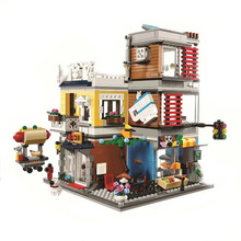 City Creator 3 In 1 Townhouse Pet Shop & Cafe Toy Store Building Blocks Figures Model Sets Bricks Classic For Children Toys Gift doinbby store 9306 84pcs city series pickup truck model building blocks kits set bricks children for toys gudi boys gift