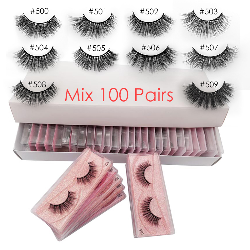 Wholesale Eyelashes 20/30/40/50/100 Pairs Mink Eyelashes Makeup Volume 3D Mink Lashes In Bulk Natural False Eyelashes(China)
