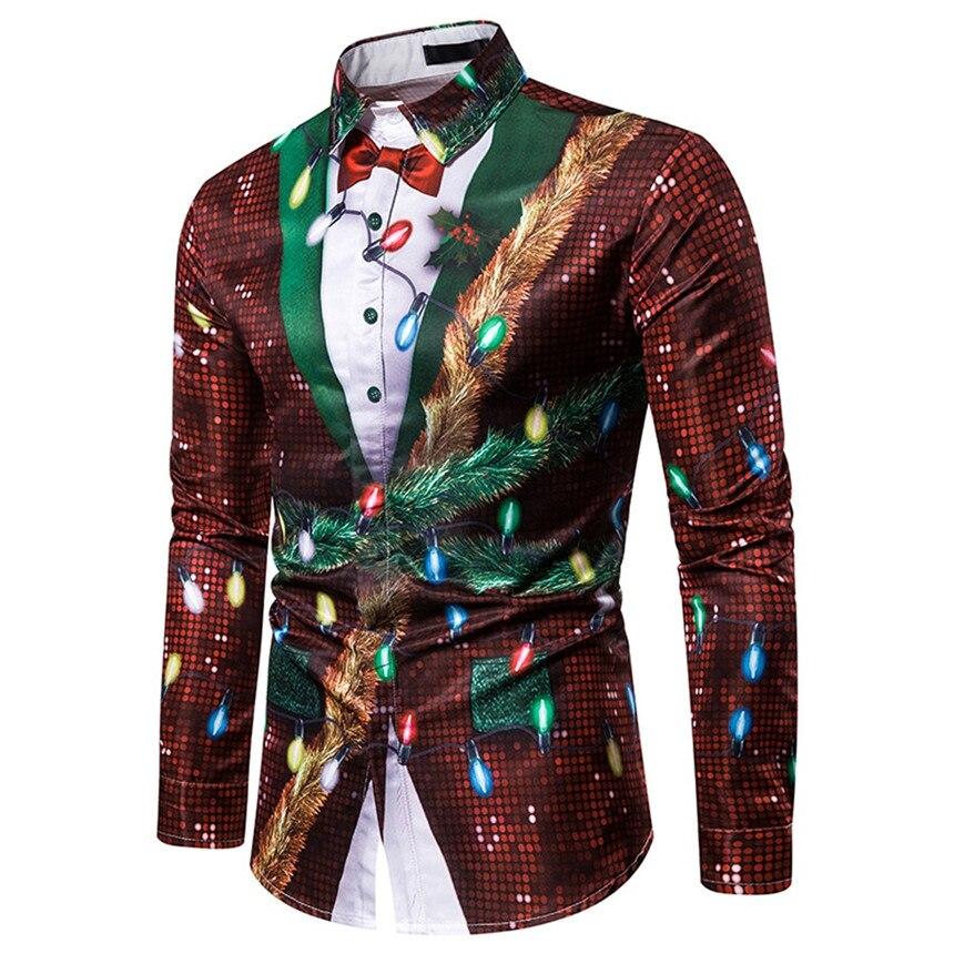 KLV Shirts Men  Fake Two Pieces Casual Snowflakes  Printed Christmas Shirt Top Blouse Fashion Splicing Shirt  Christmas Clothes