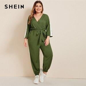 Image 5 - SHEIN Plus rozmiar Colorblock komża z przodu popędzający kombinezon kobiet wiosna jesień na co dzień V Neck z długim rękawem sportowe długie kombinezony