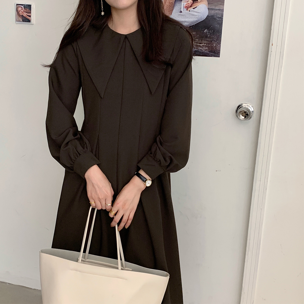 He663a843f21b4c509f4877454a3bd947D - Autumn Big Lapel Collar Long Lantern Sleeves Solid Loose Midi Dress