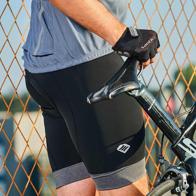 산티크 남자 사이클링 반바지 패딩 Coolmax 4D 패딩 반바지 Shockproof MTB 도로 자전거 프로 반바지 반사 미국 크기 EK8MC147