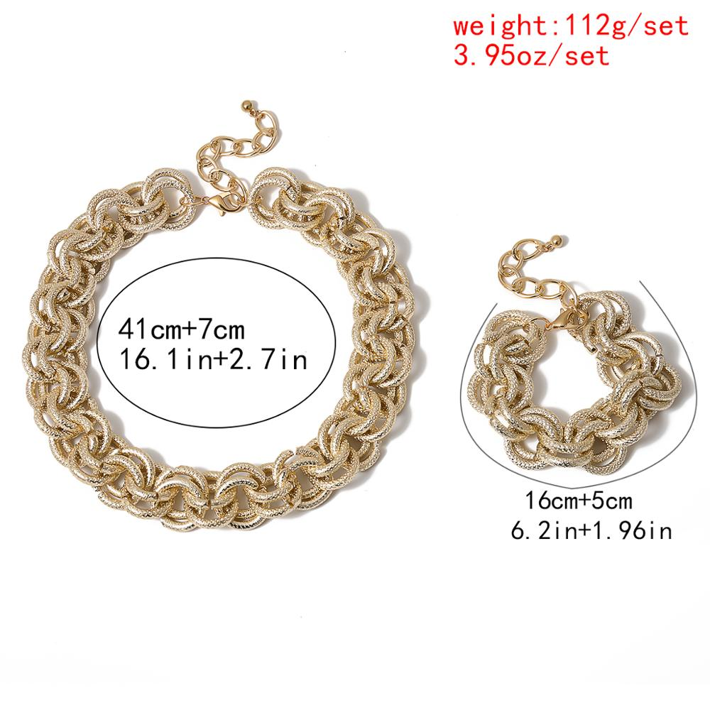 Hip Hop Punk Cuban Big Chunky Chain Necklace Bracelet NE+BA Steampunk Men Gothic Lock Twisted Choker for Best Women Jewelry Set