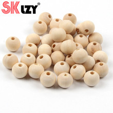 DIY 4/6/8/10/12/14/16/18/20/25/30/40/50mm Natural Ball Round Wood Beads Eco-Friendly Lead-Free Wooden Beads For Jewelry Making