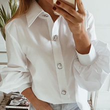 New Spring Femme Solid Button Down Plus Size Shirt Womens Puff Long Sleeve Shirts Ladies Autumn Work Office Casual Blouse Tops sexy snake printed blouse shirt office lady puff sleeve casual shirts female elegant spring autumn blouse tops