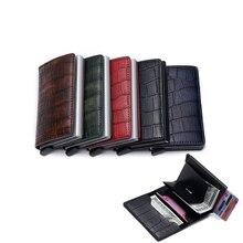 men Card Holder Business ID Credit Brand Metal Aluminum high quality black PU Leather Automatic Card Case women men bag wallet