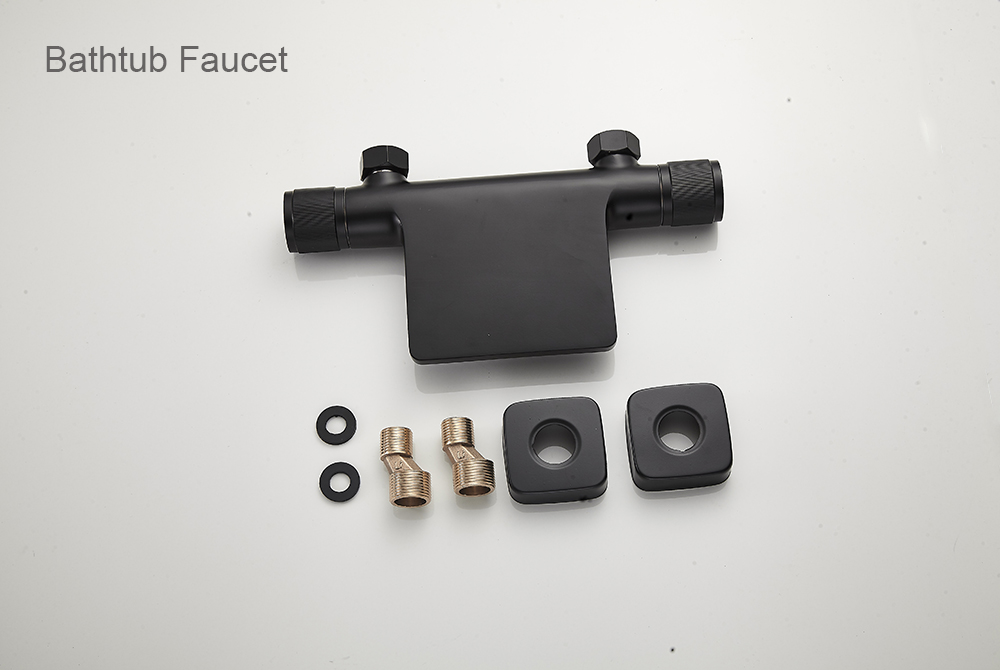 He663e7f178384c5b942c8a0b5efd346cu Bathtub Shower Faucet Mixer Solid Brass Black Wall Mount Shower Faucet With Hand Shower Bathroom Waterfall Bathub Faucet WB1620